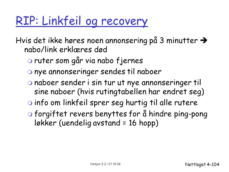 RIP: Linkfeil og recovery