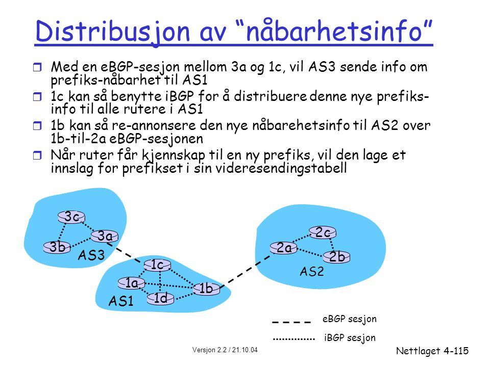 Distribusjon av nåbarhetsinfo
