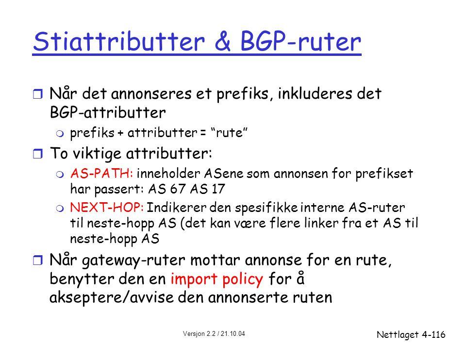 Stiattributter & BGP-ruter