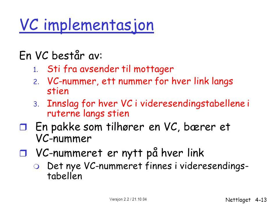 VC implementasjon En VC består av: