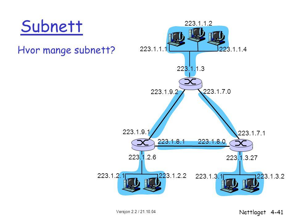 Subnett Hvor mange subnett 223.1.1.2 223.1.1.1 223.1.1.4 223.1.1.3