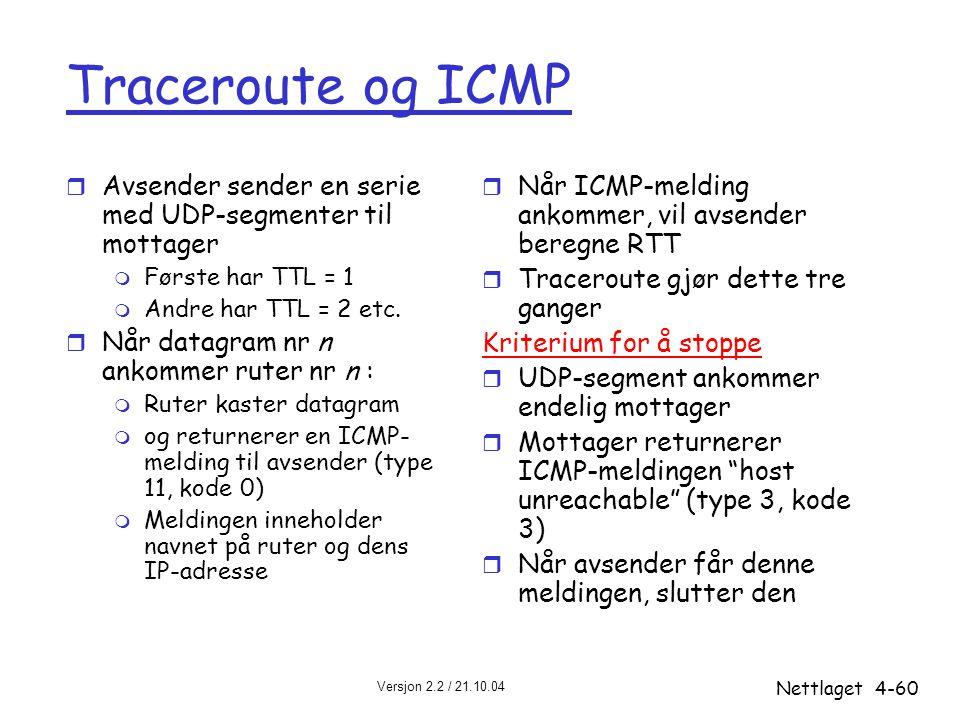 Traceroute og ICMP Avsender sender en serie med UDP-segmenter til mottager. Første har TTL = 1. Andre har TTL = 2 etc.