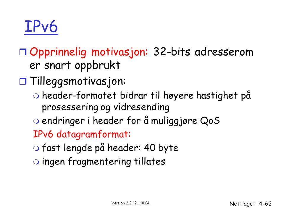 IPv6 Opprinnelig motivasjon: 32-bits adresserom er snart oppbrukt