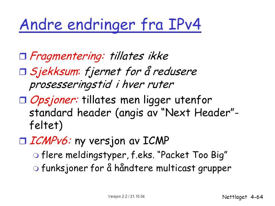 Andre endringer fra IPv4