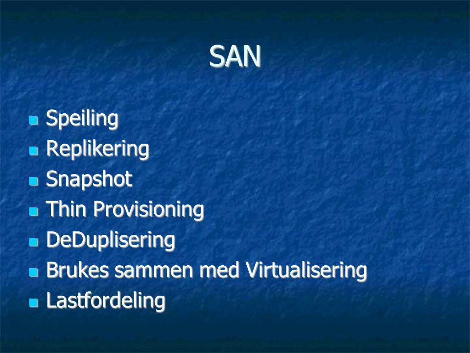 SAN Speiling Replikering Snapshot Thin Provisioning DeDuplisering