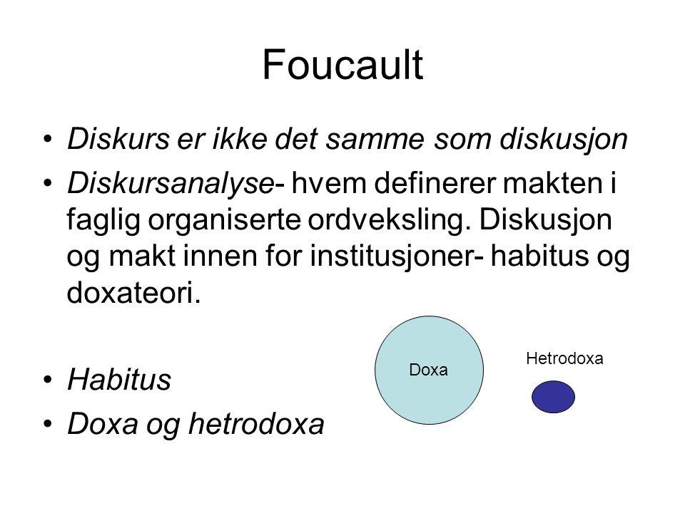 Foucault Diskurs er ikke det samme som diskusjon
