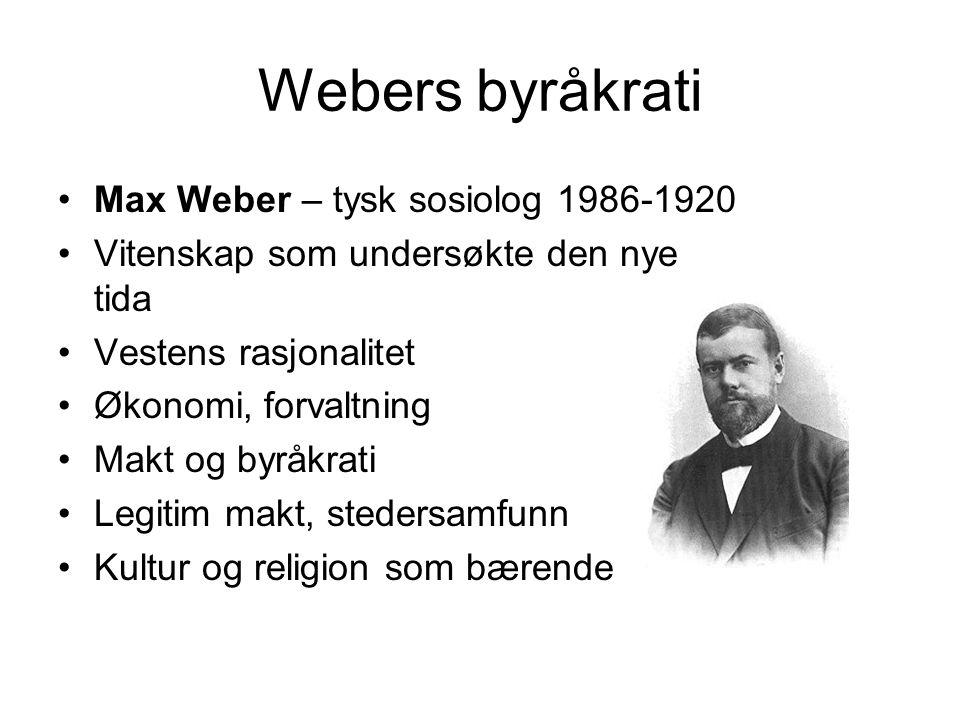 Webers byråkrati Max Weber – tysk sosiolog 1986-1920