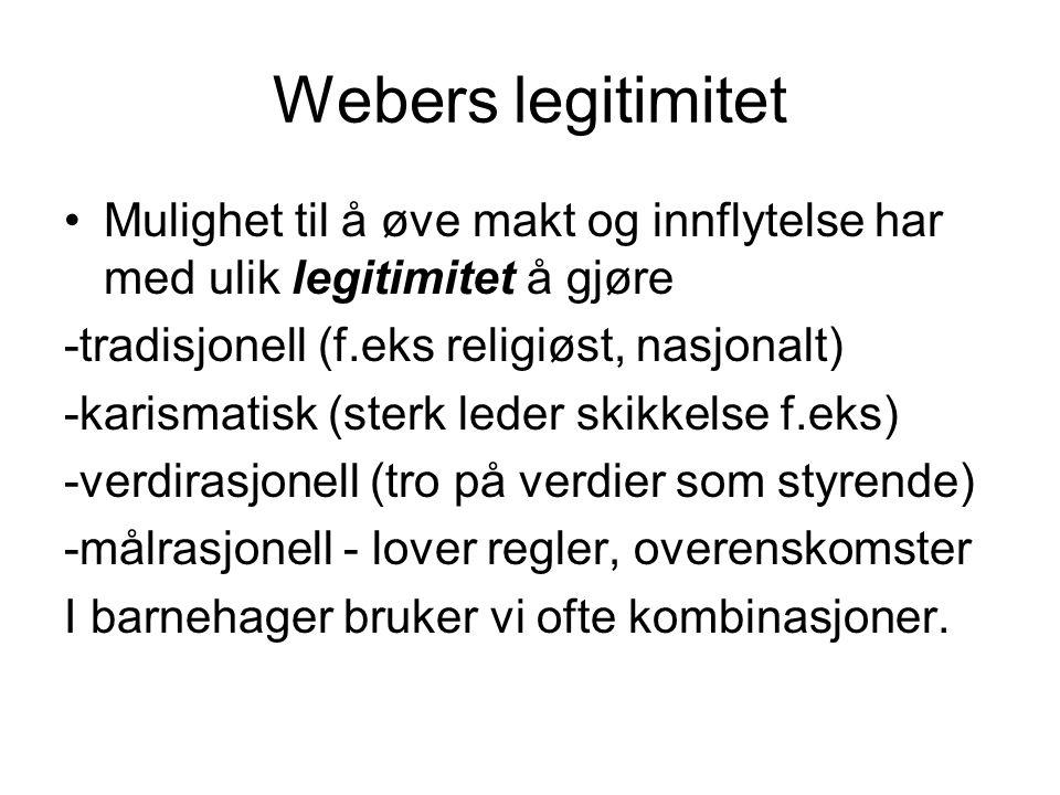 Webers legitimitet Mulighet til å øve makt og innflytelse har med ulik legitimitet å gjøre. -tradisjonell (f.eks religiøst, nasjonalt)