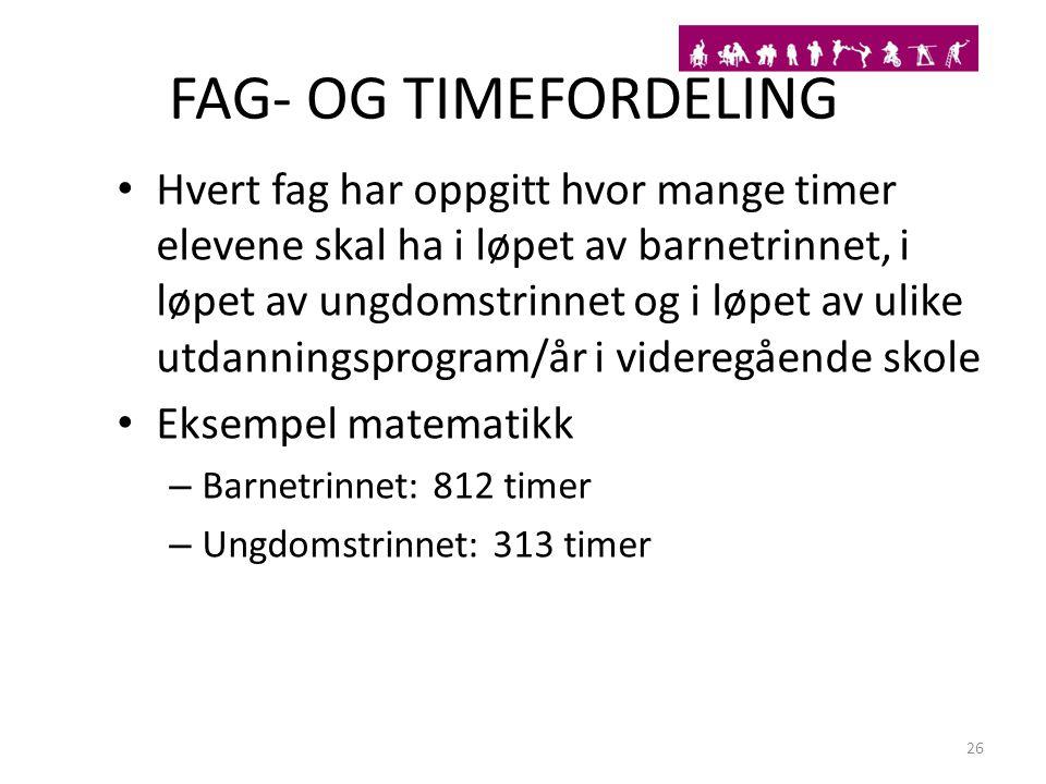 FAG- OG TIMEFORDELING