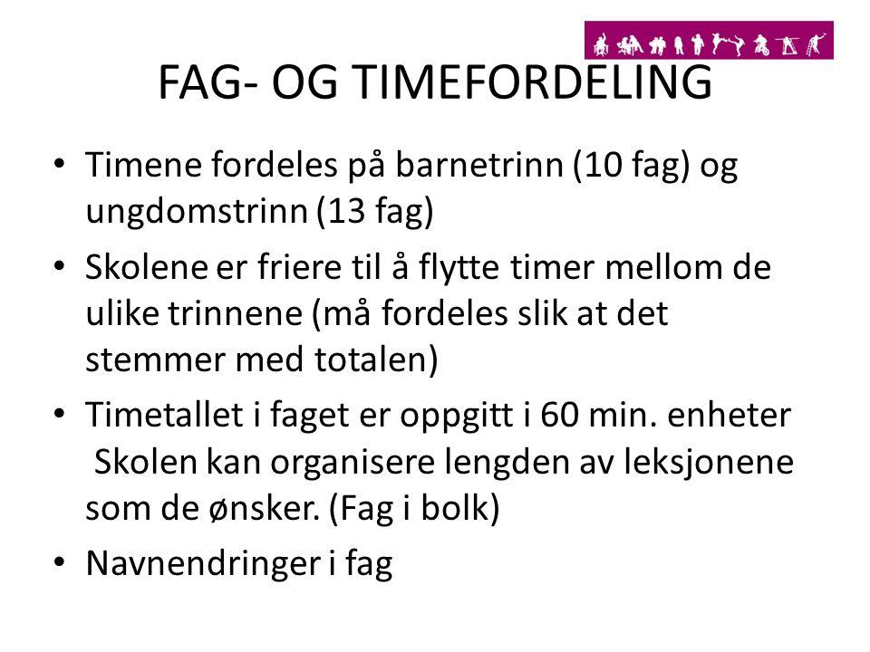 FAG- OG TIMEFORDELING Timene fordeles på barnetrinn (10 fag) og ungdomstrinn (13 fag)