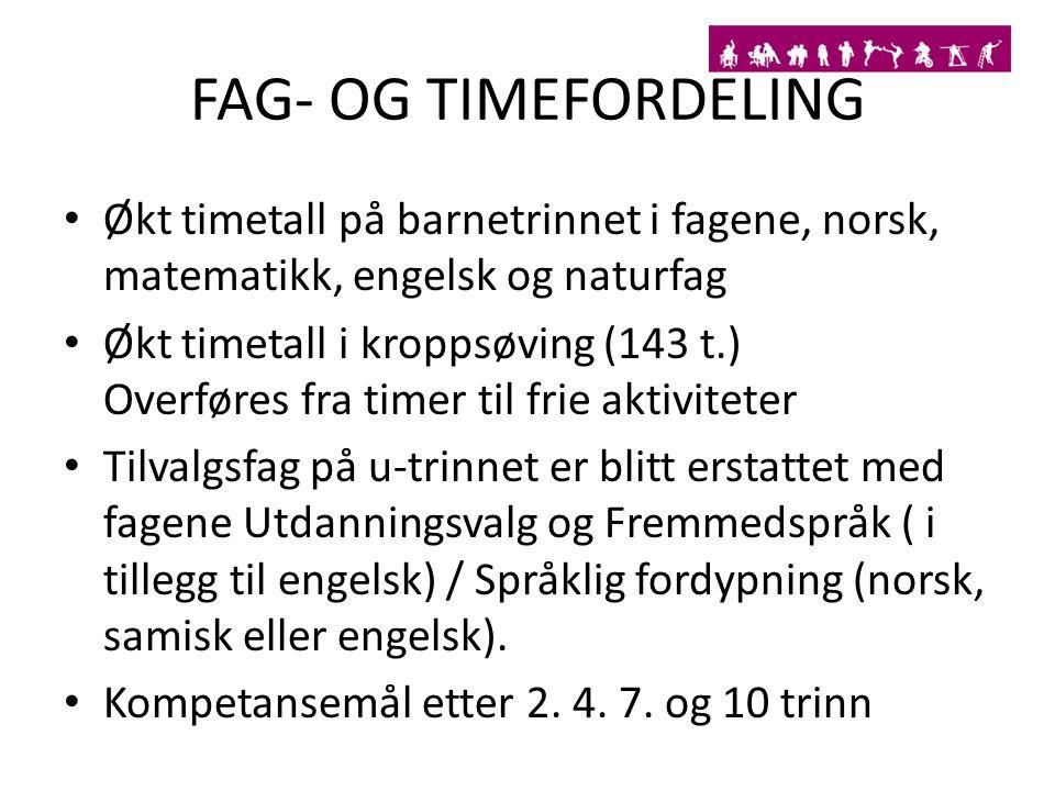 FAG- OG TIMEFORDELING Økt timetall på barnetrinnet i fagene, norsk, matematikk, engelsk og naturfag.