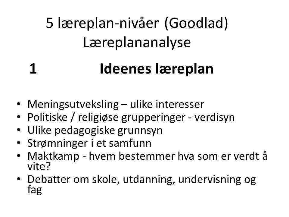 5 læreplan-nivåer (Goodlad) Læreplananalyse