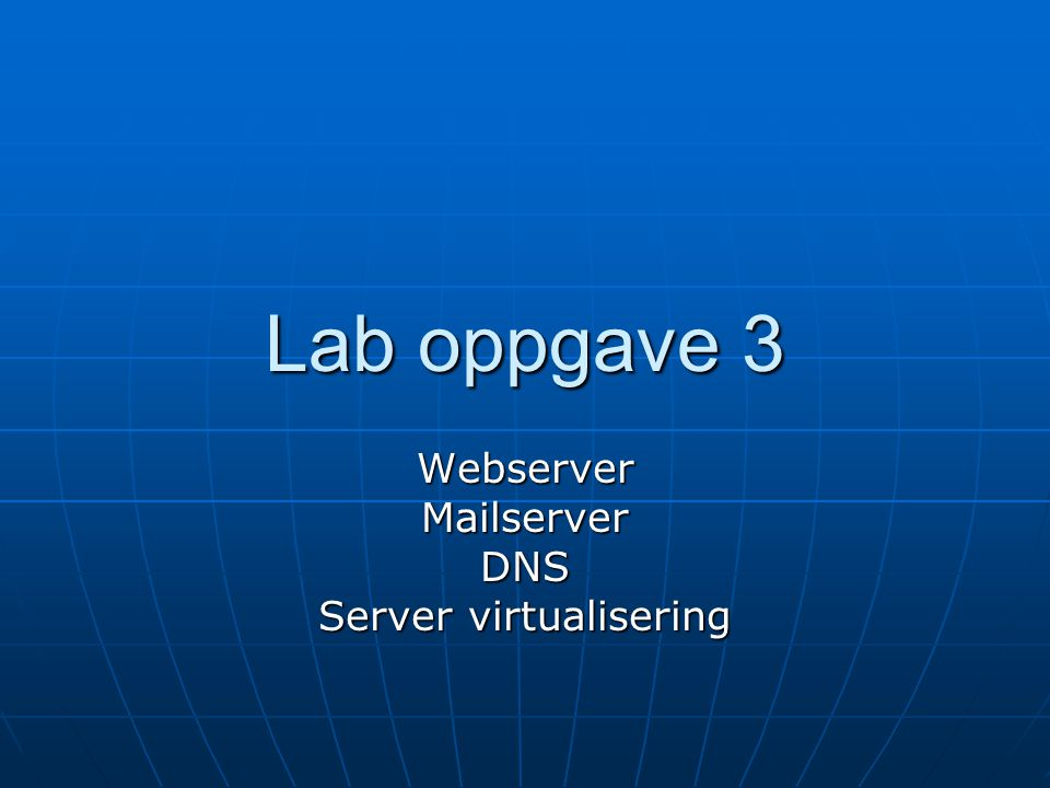 Webserver Mailserver DNS Server virtualisering