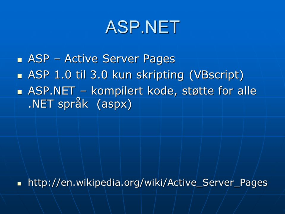 ASP.NET ASP – Active Server Pages