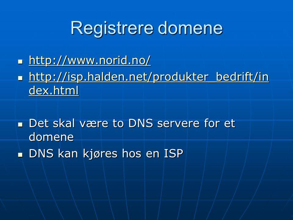 Registrere domene http://www.norid.no/