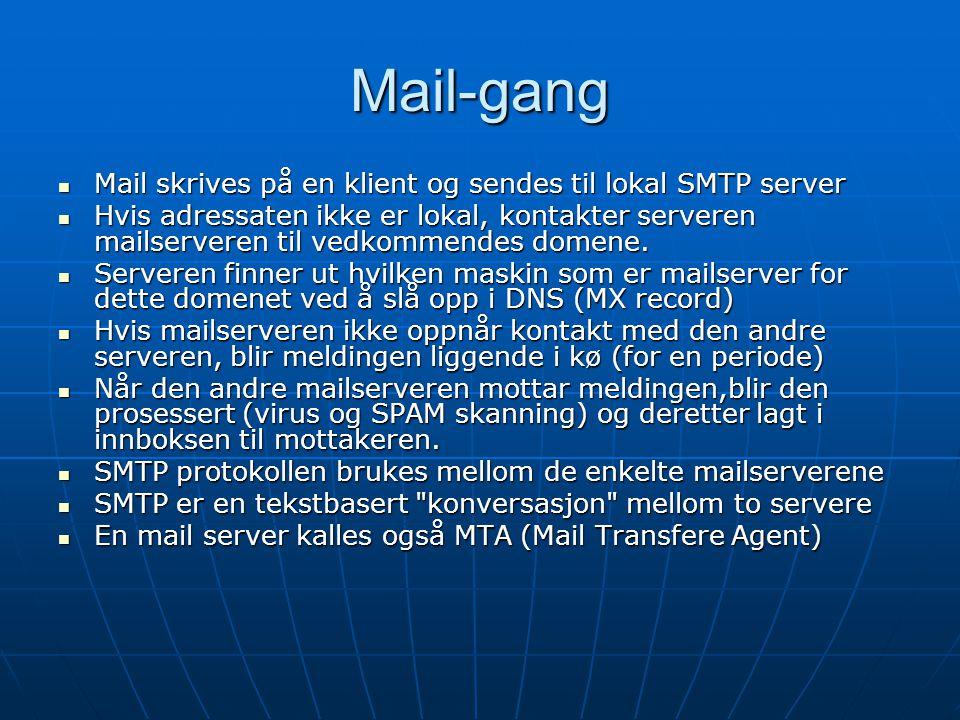 Mail-gang Mail skrives på en klient og sendes til lokal SMTP server