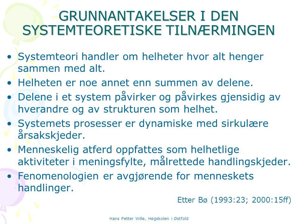 GRUNNANTAKELSER I DEN SYSTEMTEORETISKE TILNÆRMINGEN