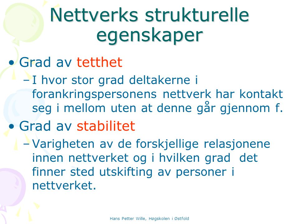 Nettverks strukturelle egenskaper
