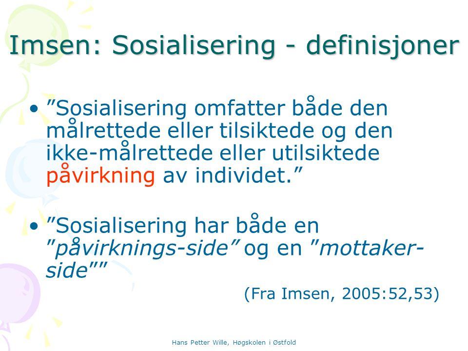 Imsen: Sosialisering - definisjoner