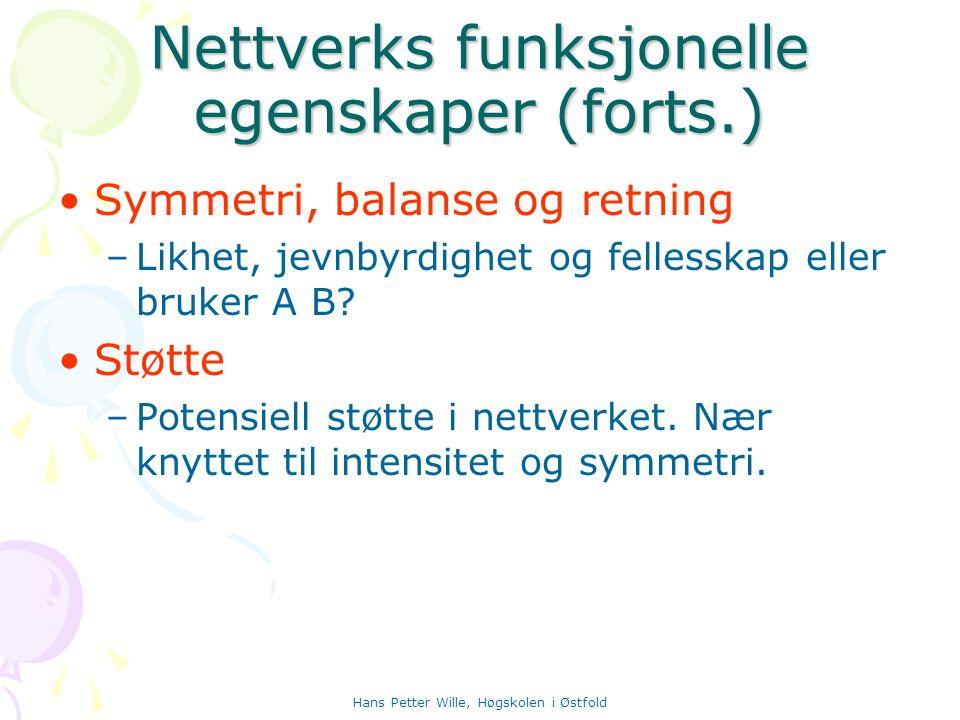 Nettverks funksjonelle egenskaper (forts.)