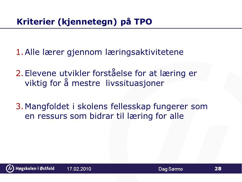 Kriterier (kjennetegn) på TPO
