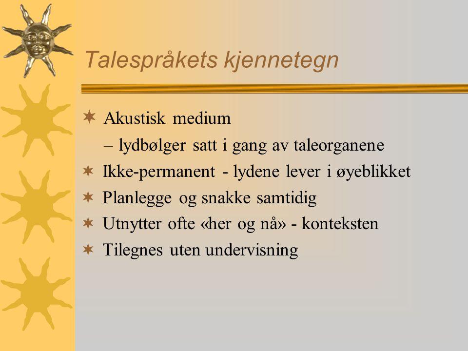 Talespråkets kjennetegn