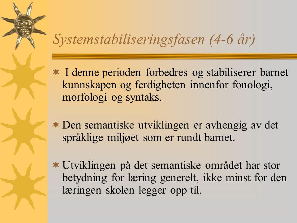 Systemstabiliseringsfasen (4-6 år)