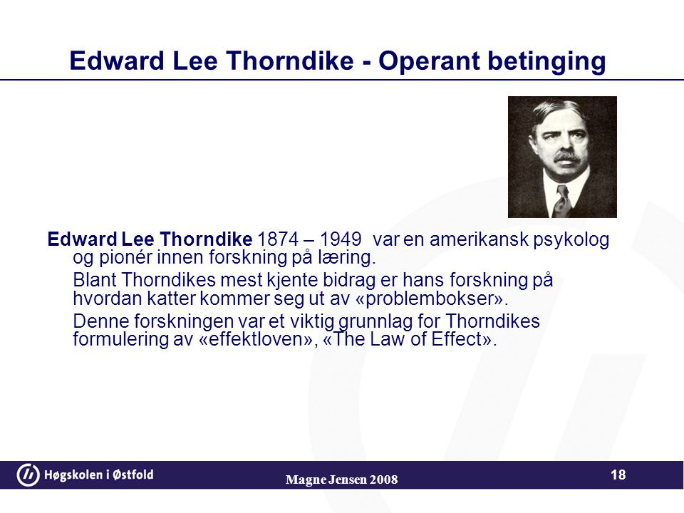 Edward Lee Thorndike - Operant betinging