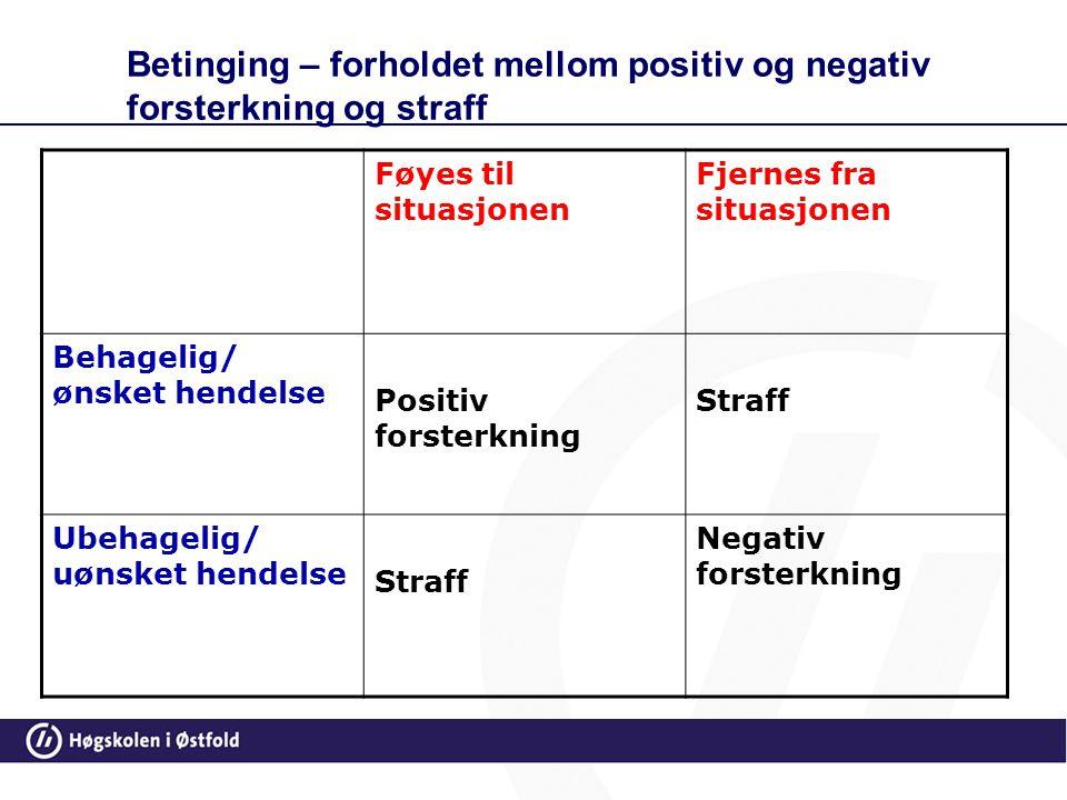 Betinging – forholdet mellom positiv og negativ forsterkning og straff