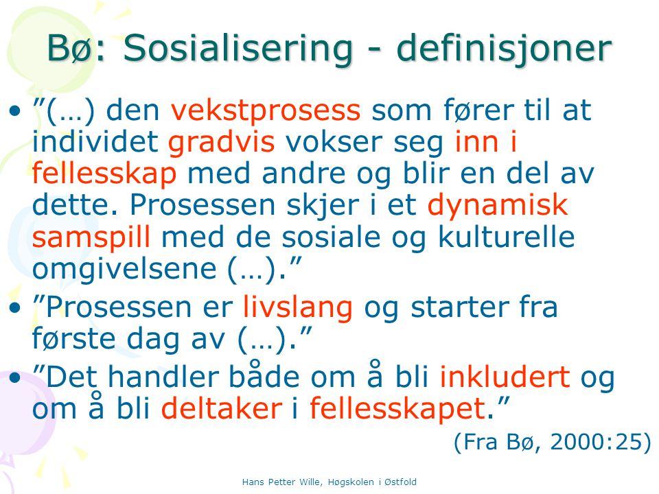 Bø: Sosialisering - definisjoner