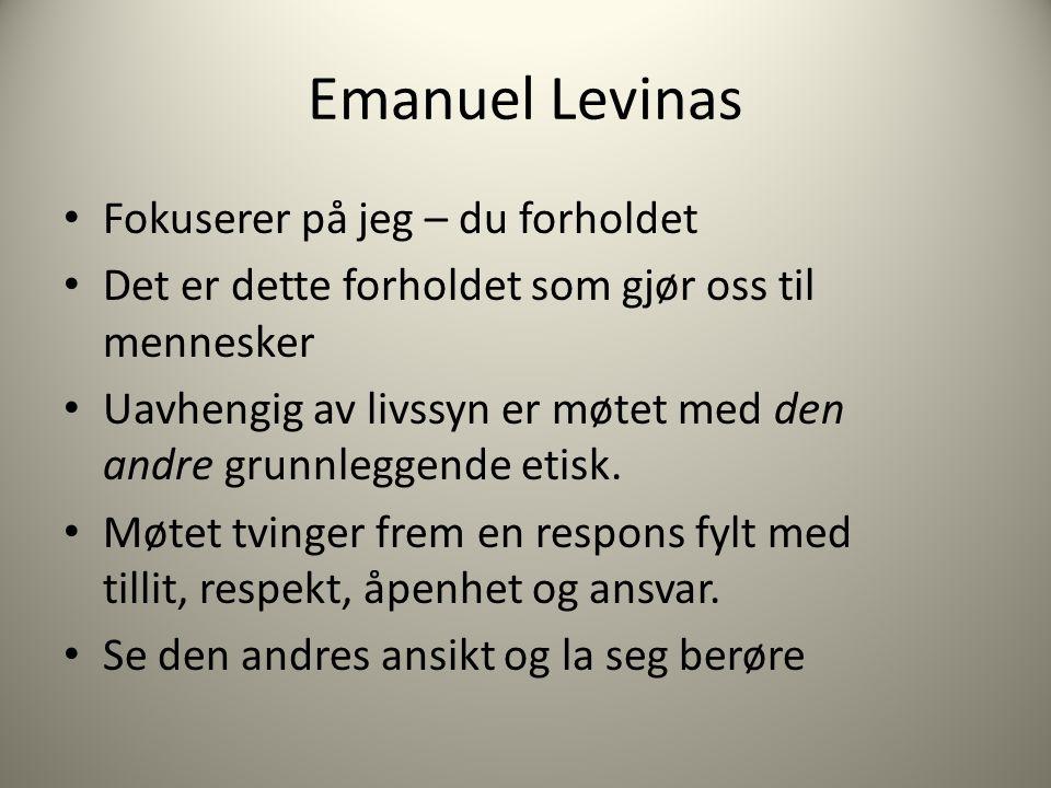 Emanuel Levinas Fokuserer på jeg – du forholdet