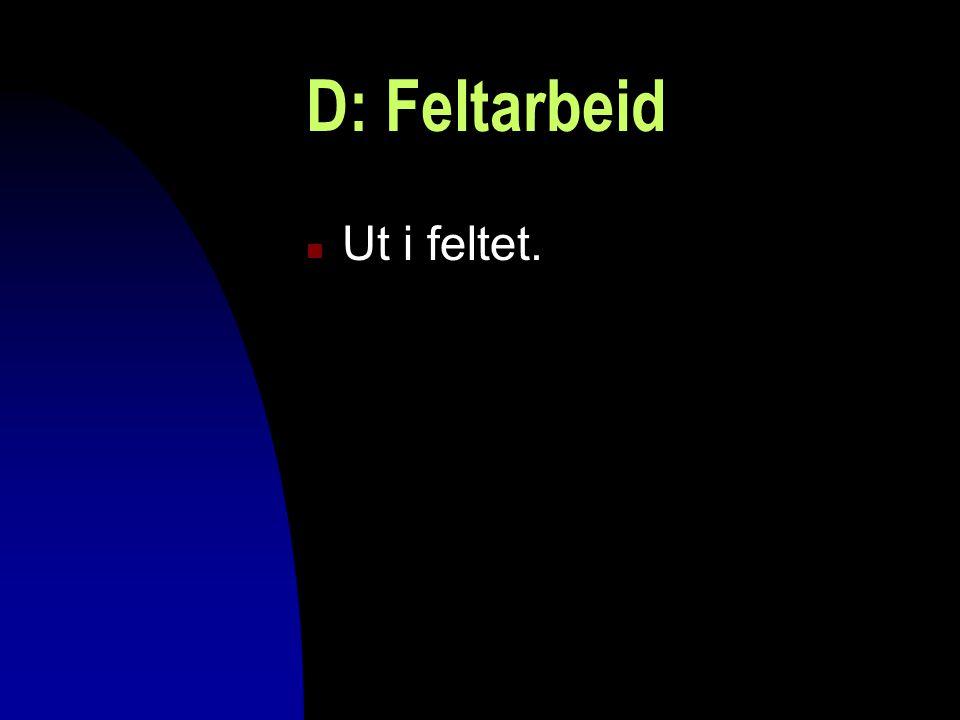 D: Feltarbeid Ut i feltet. 04.04.2017