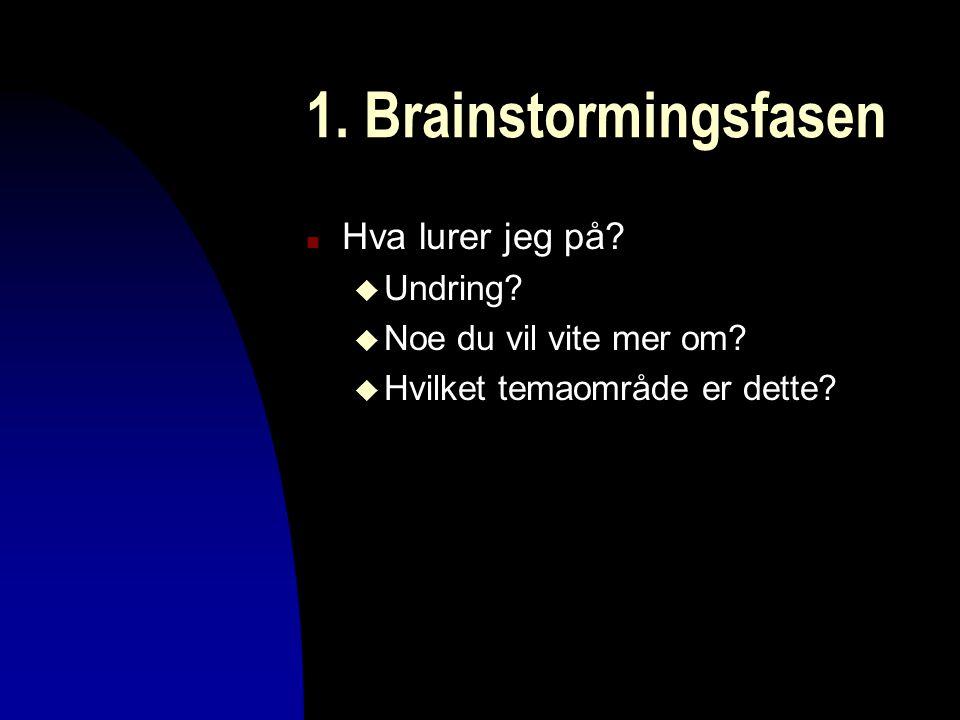 1. Brainstormingsfasen Hva lurer jeg på Undring