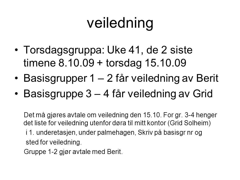 veiledning Torsdagsgruppa: Uke 41, de 2 siste timene 8.10.09 + torsdag 15.10.09. Basisgrupper 1 – 2 får veiledning av Berit.