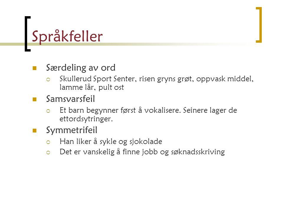 Språkfeller Særdeling av ord Samsvarsfeil Symmetrifeil