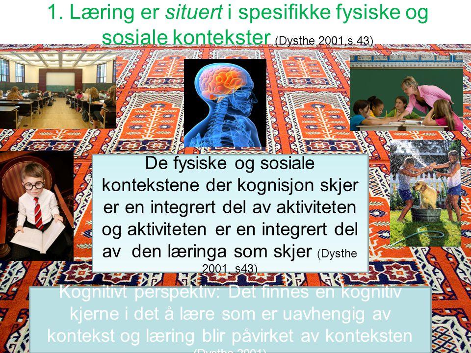 1. Læring er situert i spesifikke fysiske og sosiale kontekster (Dysthe 2001,s.43)
