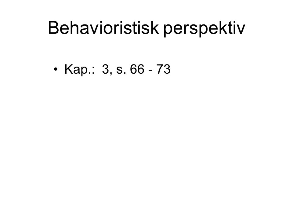 Behavioristisk perspektiv