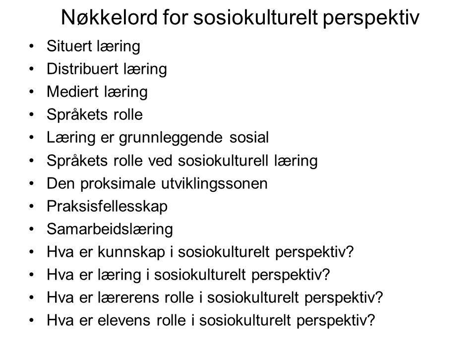 Nøkkelord for sosiokulturelt perspektiv