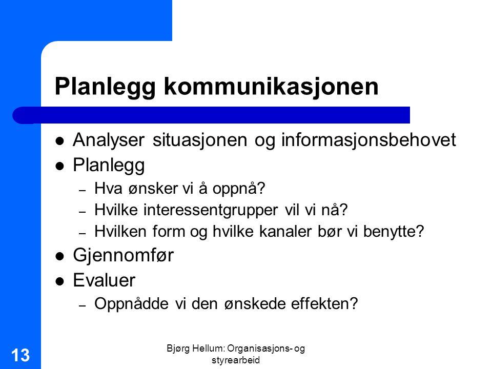 Planlegg kommunikasjonen