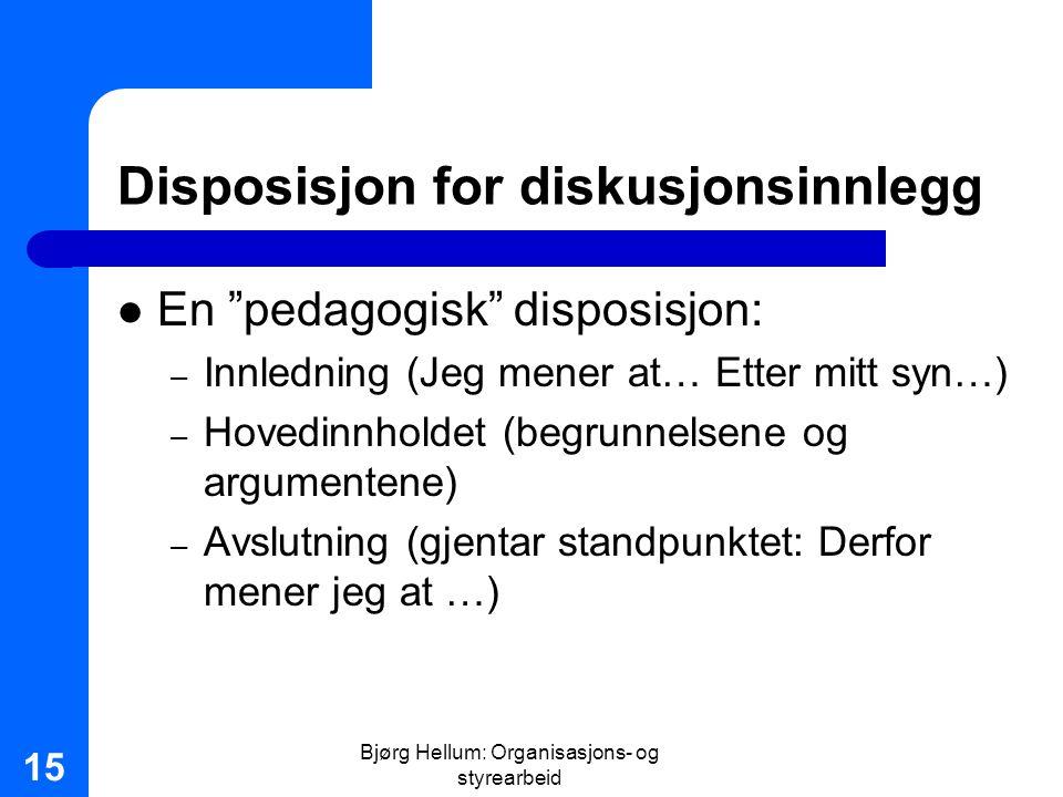 Disposisjon for diskusjonsinnlegg