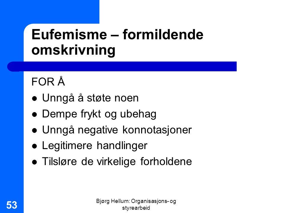 Eufemisme – formildende omskrivning