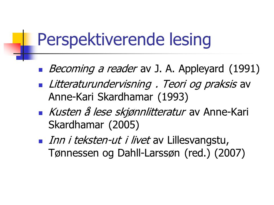 Perspektiverende lesing