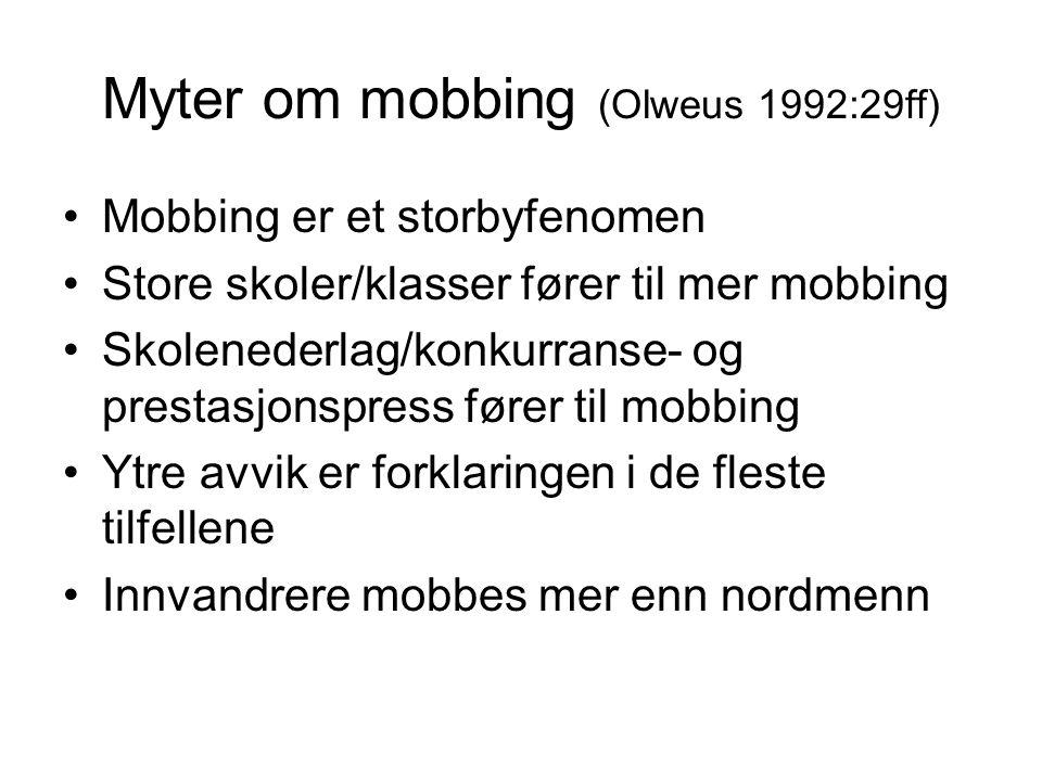 Myter om mobbing (Olweus 1992:29ff)