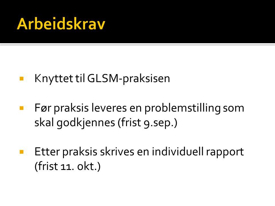 Arbeidskrav Knyttet til GLSM-praksisen