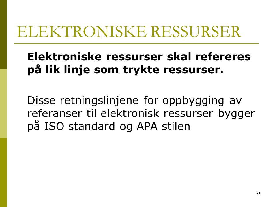 ELEKTRONISKE RESSURSER