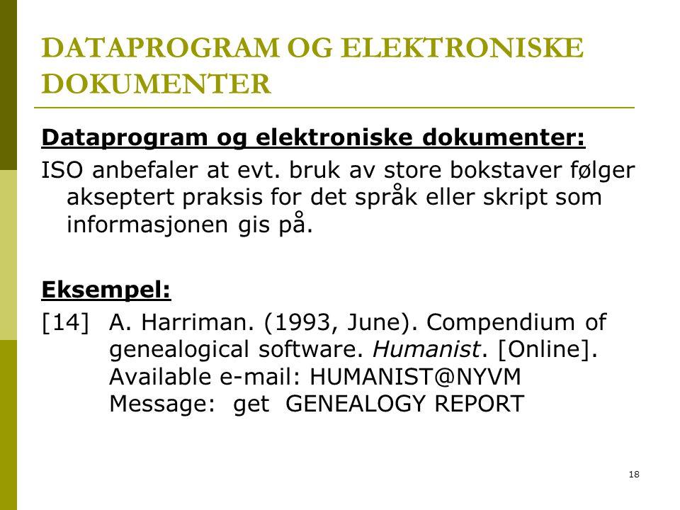 DATAPROGRAM OG ELEKTRONISKE DOKUMENTER
