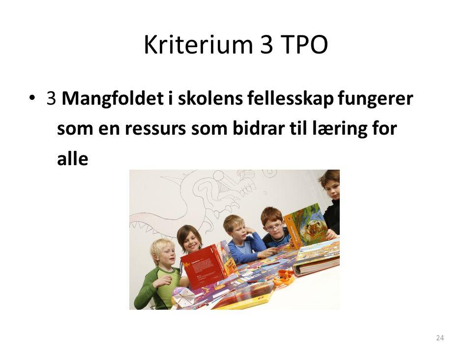 Kriterium 3 TPO 3 Mangfoldet i skolens fellesskap fungerer