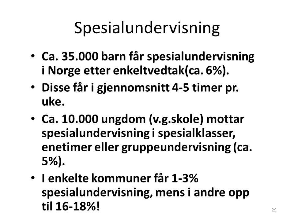 Spesialundervisning Ca. 35.000 barn får spesialundervisning i Norge etter enkeltvedtak(ca. 6%). Disse får i gjennomsnitt 4-5 timer pr. uke.