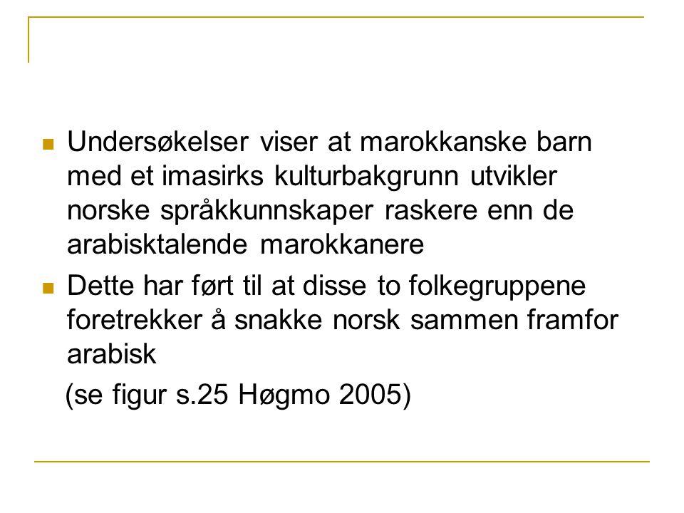 Undersøkelser viser at marokkanske barn med et imasirks kulturbakgrunn utvikler norske språkkunnskaper raskere enn de arabisktalende marokkanere