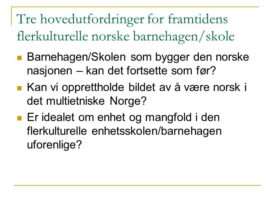 Tre hovedutfordringer for framtidens flerkulturelle norske barnehagen/skole